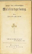 Jacob Grimm: Über den altdeutschen Meistergesang